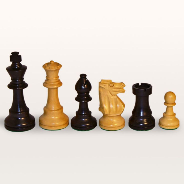 Black and Natural Boxwood French Knight Chess Pieces-Large - 1001BF375