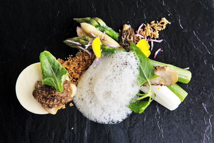 Set custards flavoured with goat's cheese are paired with asparagus and sage foam in this wonderfully light spring recipe from James Sommerin