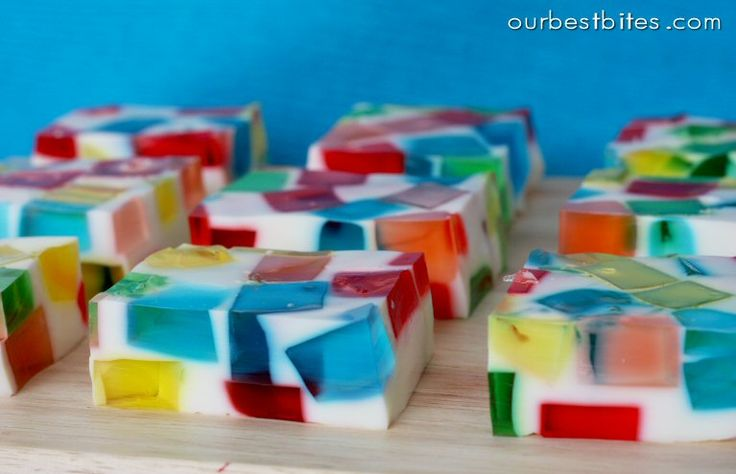 Stupid good. Multi-colored jello held together with condensed milk and Knox gelatin. There has to be a classier version. But pretty!