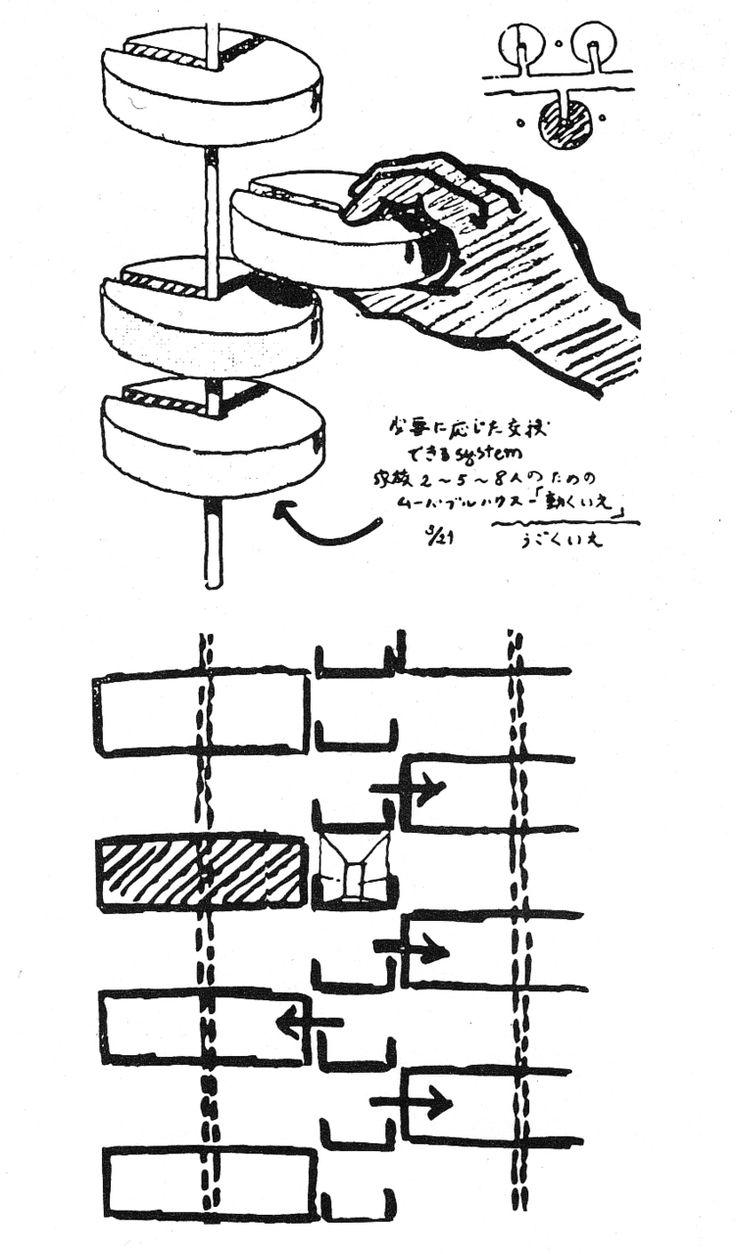 KIYONORI KIKUTAKE  CYLINDRICAL COMMUNITIES, SKETCHES, 1964