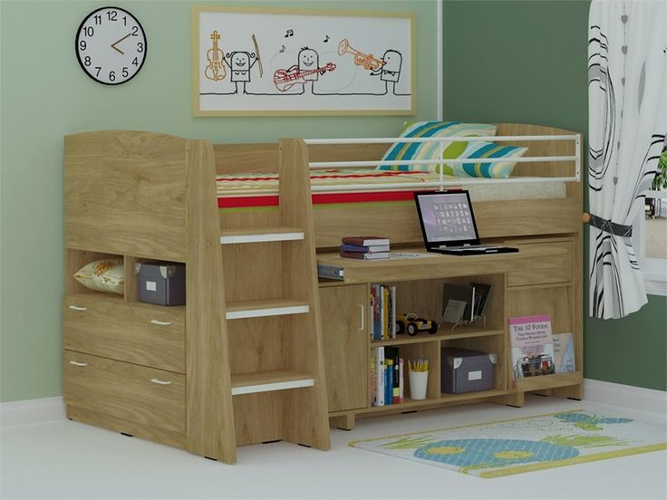 TT Midi Sleeper Cabin Beds With Oak Finish - Cabin Bed With Storage