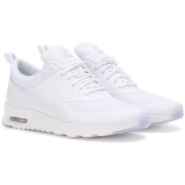 Nike Nike Air Max Thea Premium Sneakers ($150) ❤ liked on Polyvore featuring shoes, sneakers, nike, white, white sneakers, nike sneakers, white shoes and white trainers