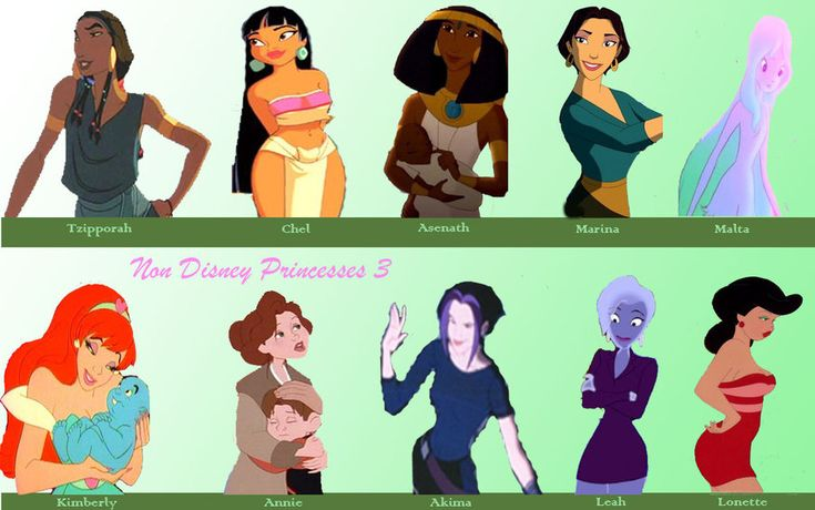 Non Disney Princesses 3 by ~JamiMunji on deviantARTTop Row: Tzipporah (The Prince of Egypt), Chel (The Road to El Dorado), Asenath (Joseph: King of Dreams), Marina (Sinbad: Legend of the Seven Seas), Princess Malta (Sea Prince and the Fire Child)  Bottom Row: Kimberly (Space Ace), Annie Hughes (The Iron Giant), Akima (Titan A.E.), Leah (Osmosis Jones), Lonette (Cool World)