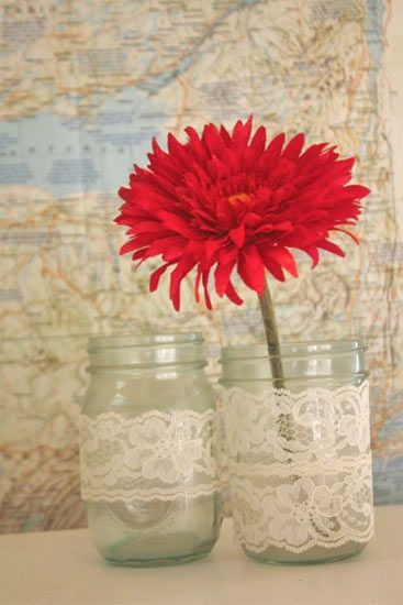 This gorgeous mason jar vase is super easy to make and very inexpensive, too! Makes for a great centerpiece for weddings, bridal showers, baby showers, graduations and more. Get everything you need to create your own at Factorydirectcraft.com.