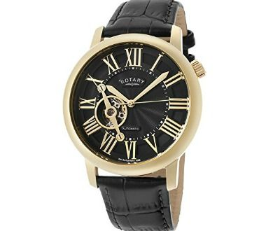 Rotary Men's Automatic Gold Tone IP SS Case Black Dial Black Genuine Leather ►► http://www.gemstoneslist.com/mens-watches/rotary-mens-watches.html?i=p