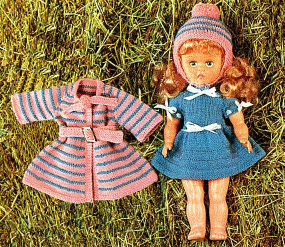 PDF Vintage 1970s  Doll Clothes Knitting Pattern Skater Dress