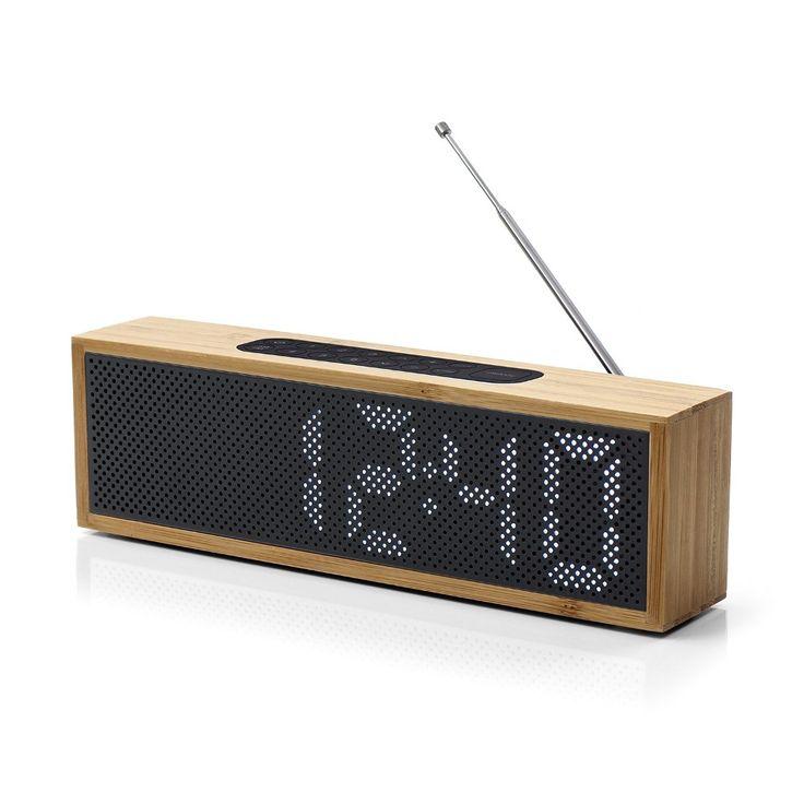 Radio Réveil en Bambou | Titanium Clock Noir | Lexon Design