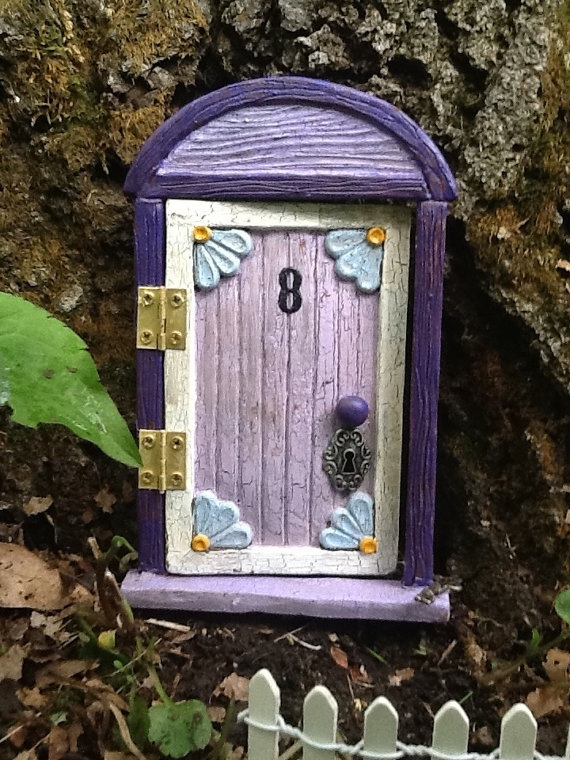 Hinged 6  flowered Fairy door for the home or garden  by Ignatzz, $25.00