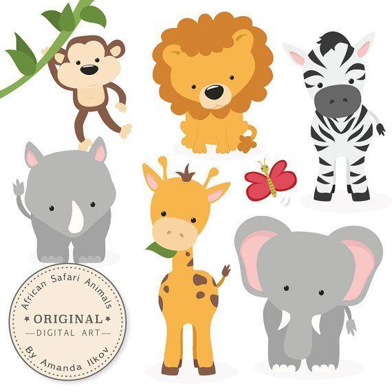 Premium Afrika Safaritiere Clip Art Vektoren Von Amandailkov Safari Baby Animals Safari Animals Baby Jungle Animals