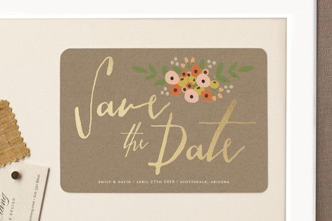 """Tiny Flower Bunch"" - Floral & Botanical, Rustic Save The Date Magnets in Charcoal by August and Oak."