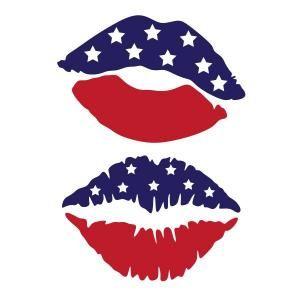 US Flag Kiss Lips SVG Cuttable Design