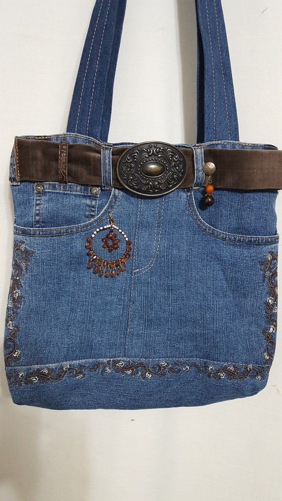 Fantastic Jean Purse Made out of old Jeans with costume jewelry and zipper on the inside and top visit  beatrizdesigns.patternbyetsy.com by BeatrizDesigns on Etsy