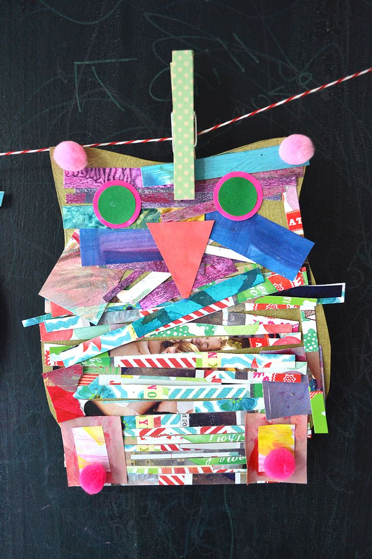 DIY owl collage with recycled materials | @artbarblog