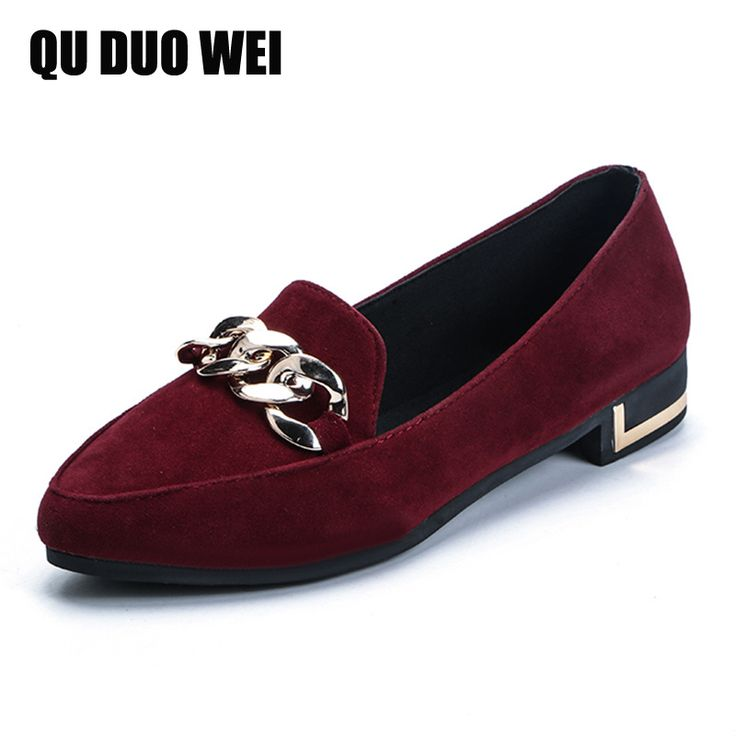 2017 New Ballet Flats Slip On Flock Women Loafers British Style Sequin  Chains Women Flat Shoes