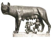 La Loba capitolina. 470 a.C. Arte Etrusco. Escultura realizada en bronce. Rasgos arcaicos.  Figuras de Rómulo y Remo.  Su fiera cabeza representada con detalle.  Anatomía de costillas marcadas y patas fibrosas
