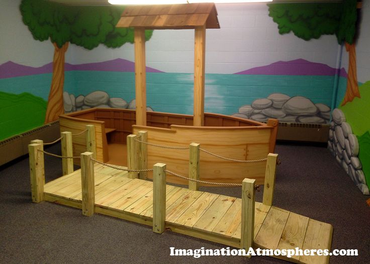 Boat and dock built for children's ministry room. www.imaginationatmospheres.com
