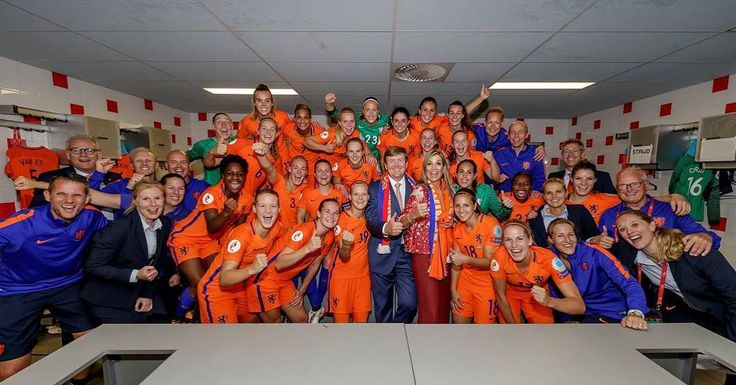 King Willem Alexander and Queen Maxima of the Netherlands celebrated with Dutch team after the UEFA WEURO 2017 (UEFA Women's Euro 2017) Group A match between Netherlands and Norway at the Galgenwaard Stadium on July 16, 2017 in Utrecht, The Netherlands