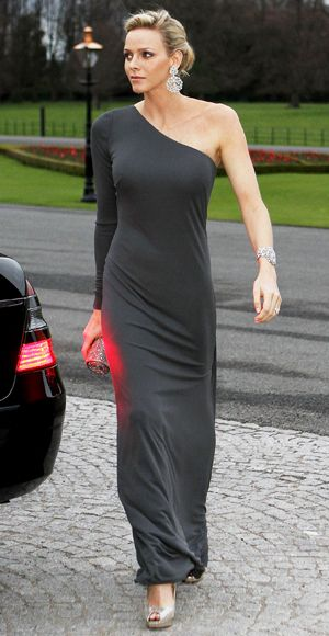 Charlene Wittstock showed off her swimmer's body in a slate gray one-shoulder gown.