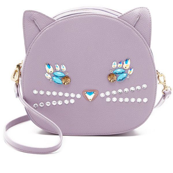Patricia Chang Cat Cross Body Bag (£220) ❤ liked on Polyvore featuring bags, handbags, shoulder bags, purses, lavender, leather crossbody handbags, leather crossbody, purple leather purse, genuine leather handbags and leather shoulder handbags