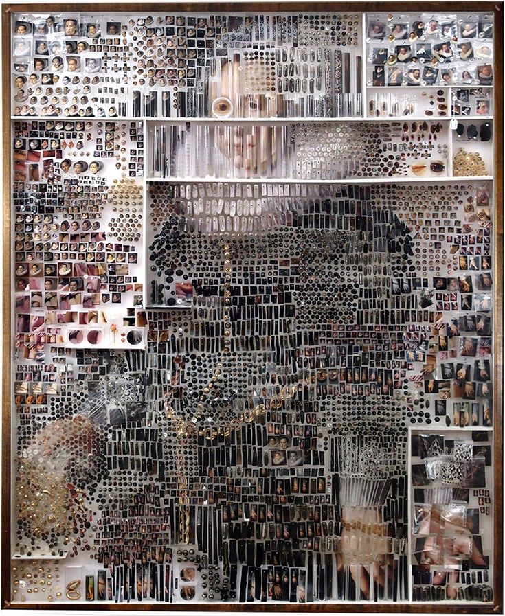Dutch Paintings Recreated Using Thousands of Photographic and Scientific Specimens by Michael Mapes. Photographic prints, insect pins, pinning foam, gelatin capsules, glass vials, painted canvas, cast resin, pill organizer, plastic specimen bags, cotton thread, costume jewelry, sequins. http://www.thisiscolossal.com/2014/01/michael-mapes-deconstructed-dutch-paintings/