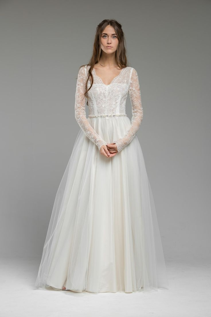 489 best long sleeved wedding dresses images on pinterest for Long wedding dresses with sleeves
