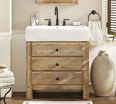 Mason Reclaimed Wood Single Sink Console - Wax Pine finish #potterybarn