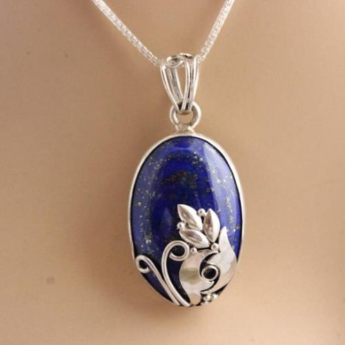 Silver artisan pendant necklace - Unique lapis lazuli pendant chain $135.00