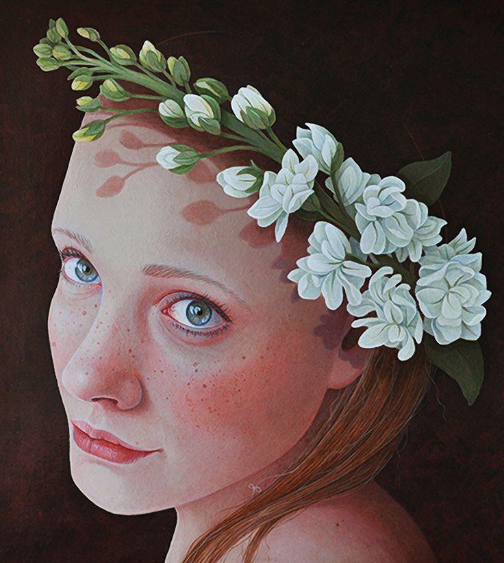 """Phoebe"" - Jantina Peperkamp {contemporary figurative art female redhead floral reef woman face portrait cropped painting} jantina-peperkamp.nl"