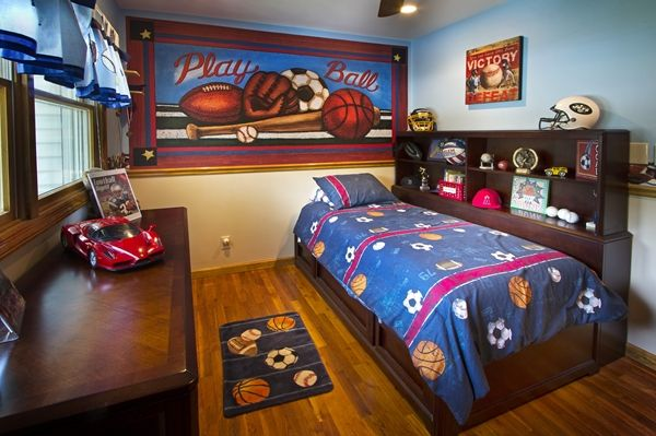 incredible boys sports bedroom ideas   Sports Mural for a boys room   Murals Your Way   Boy Room ...