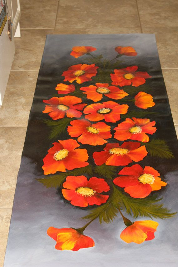 Floor cloth original hand painted rug flowers by ArtworkbyMarina, $100.00