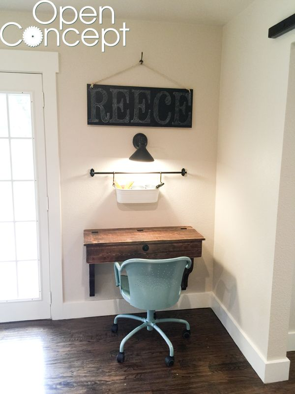 DIY-Floating-Student-Desk with plans and tutorial - has flip top for storage - #hgtv #OpenConcept