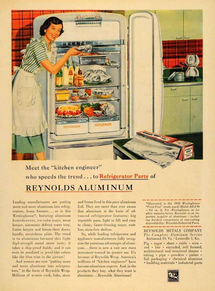 This is an original 1950 color print ad for the Reynolds Metals Company of Louisville, Kentucky and Richmond, Virginia. The ad features an image of a woman putting her wrapped leftovers in the refrige
