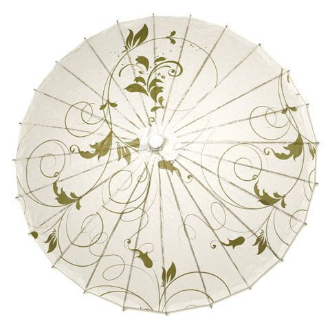 Paper Wedding Parasol with Gold Vines Design by ParasolsbyDesign
