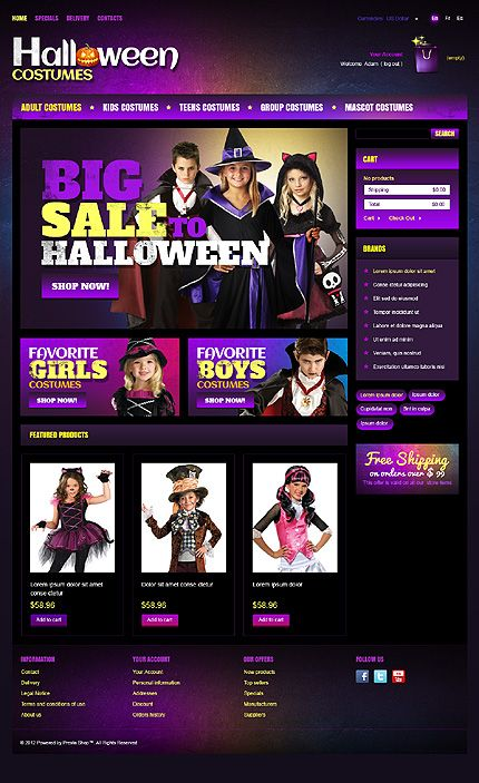 PrestaShop #template // Regular price: $140 // Unique price: $2500 // Sources available: .PSD, .PHP, .TPL #Website #Halloween #Costumes #PrestaShop #Store #Shop