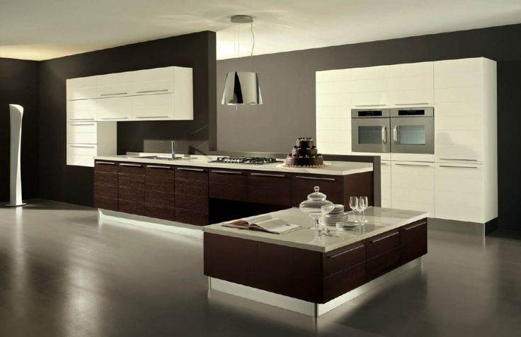 [Kitchen] : Wonderful Creative Decoration For Elegant Contemporary Kitchen Designs With Fascinating Ornament Along With Chest Of Drawer In White And Brown Colour Plus Granite Flooring
