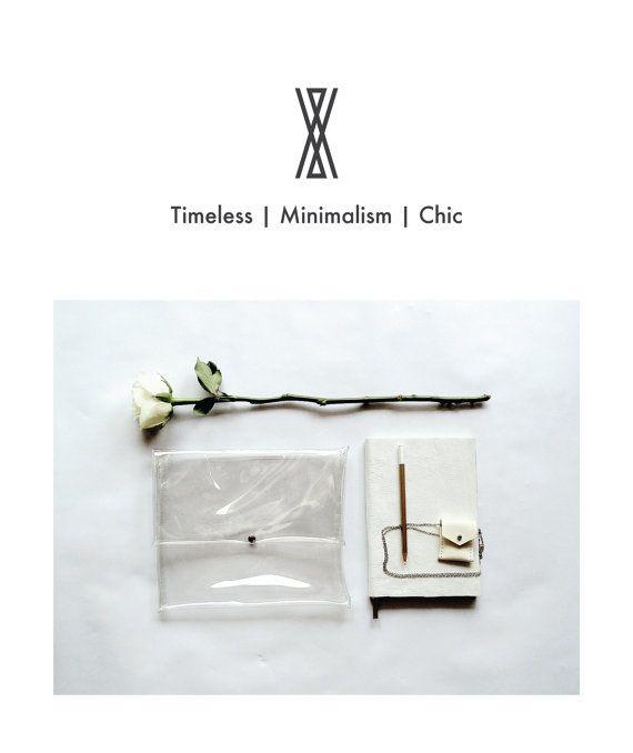 COLECCIÓN de invisibilidad--minimalismo a mano transparente clara embrague grande