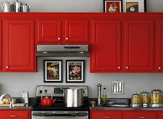 Red cabinets. I must say I love the gray and red.