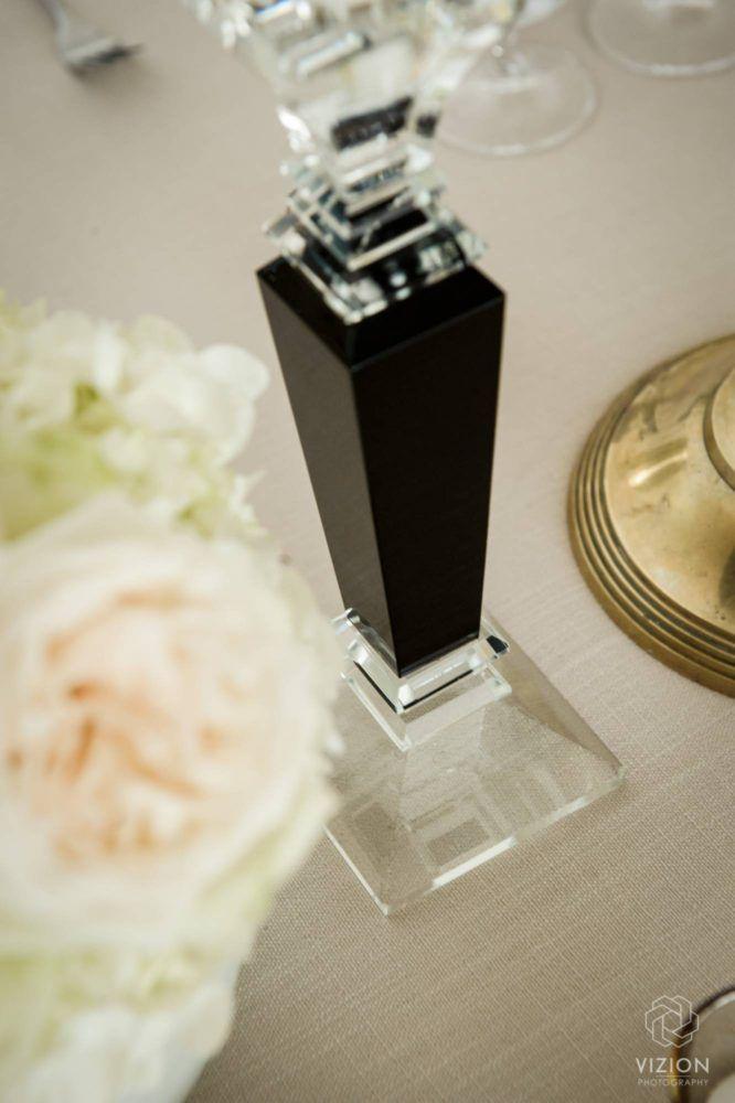 Elize & Stefan Real Wedding Showcase - The Aleit Group  Black and gold wedding. Table setting, Black candle holder. Black decor. Gold decor. Wedding photos. Laurent Venue.