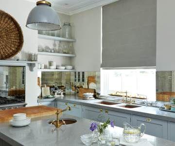 Grey kitchen roller blind