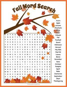 Fall Word Search Puzzle: FREEBIE!  A word search puzzle featuring fall vocabulary words.  This would make a good activity for early finishers or a handout for kids to take home and enjoy.  Word search puzzlers will improve spelling and expand vocabulary while having fun.