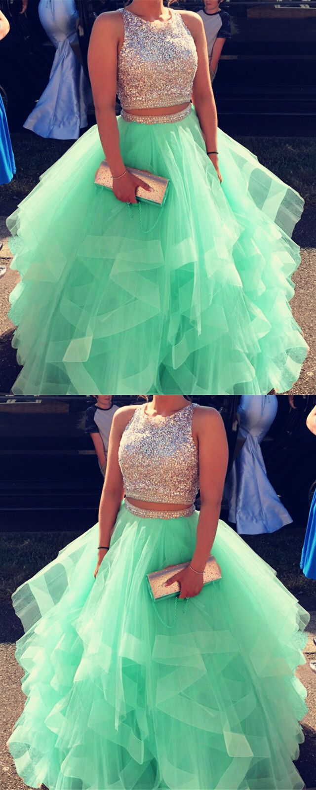 a8916a69 Sparkly Sequins Beaded Organza Layered Ball Gowns Prom Dresses Two ...