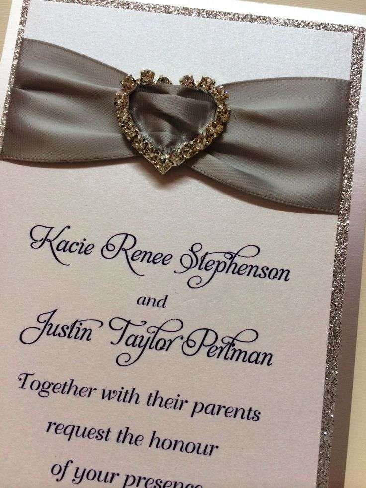 Silver Glitter Ribbon Heart Rhinestone Wedding Invitation By Fort Lauderdale Invitations