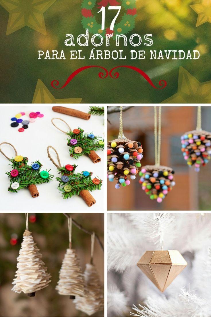 17 adornos navideños DIY ➜ Ideas de adornos hechos a mano para el árbol de Navidad.   #Adornos #Navidad #Árbol #Handmade #DIY #XMAS #Handfie