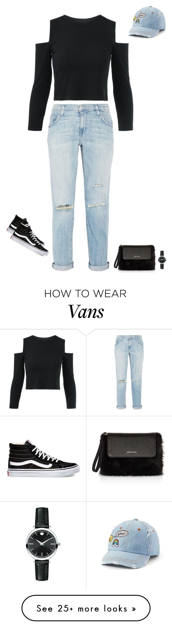 """Cali"" by alenanguyen on Polyvore featuring Current/Elliott, SO, Vans, Karen Millen and Movado"