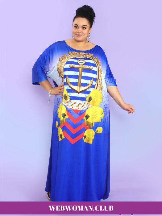 Платье Тропические рыбки Magesty Повседневные платья для полных, сарафаны, платья-туники, комбинезоны. Платье Тропические рыбки Magesty