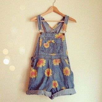 dress dungarees daises yellow denim short floral dungarees jeans pineapple…