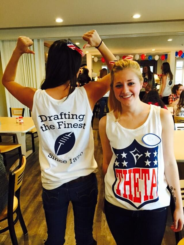 "University of Minnesota Theta NFL Themed Bid Day Shirts ""Drafting The Finest since 1870"""