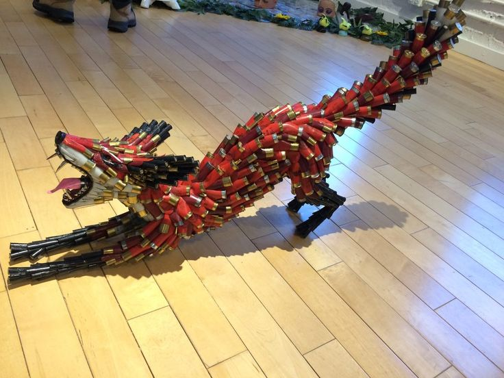 I see your bird made out of cds how about a fox made out of shotgun shells.