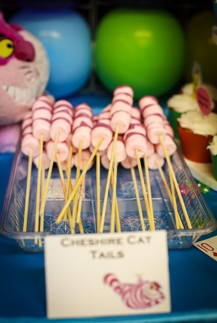 Chesire Cat Tails at a Alice in Wonderland Party #aliceinwonderland #party