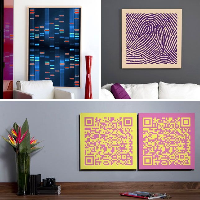 DNA11 lets you turn your fingerprints, kisses + DNA into wall art. Kind of cool for Valentine's Day.